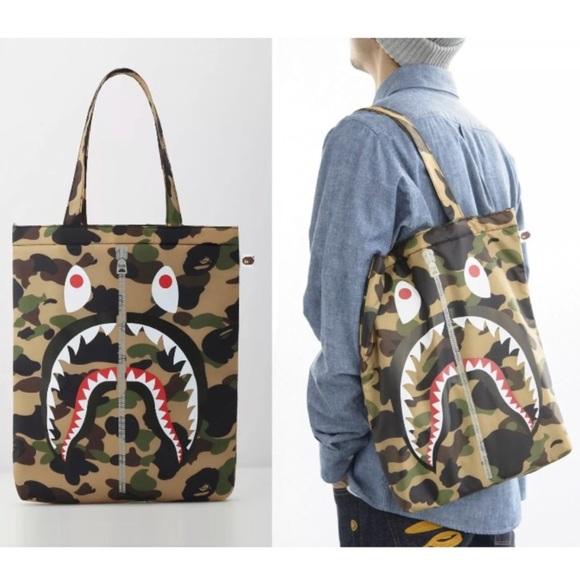 Bape Handbags - A Bathing Ape BAPE Shark Camo Padded Tote Bag b716c8f6e3eec